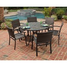 Home Styles Stone Harbor Mosaic Outdoor Dining Set Hayneedle - 7 piece outdoor dining set with round table