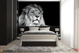 mural big lion head on black background wall mural big lion head on black background