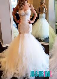 jol323 sheer tulle back fit flare mermaid wedding dress