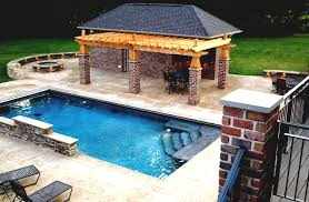amazing pool house plans with garage and modern furniture set