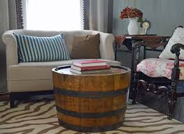 whiskey barrel side table best attractive wine barrel end table intended for household designs