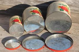 vintage metal kitchen canisters century vintage metal kitchen canisters w bright fruit print