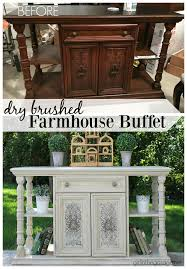 dry brushed farmhouse buffet makeover in the garage
