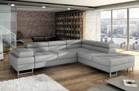 canapé cuir gris clair canapé d angle convertible turin en simili cuir de qualité gris