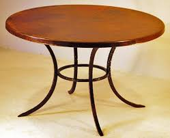 round copper table old world rustic minimalistic base
