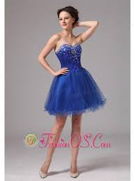 royal blue sweetheart beaded mini length club cocktail dress in