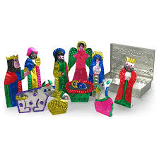 mexican painted tin nativity set 10 pieces in tin box available