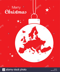 Christmas Map Merry Christmas Illustration Theme With Map Of Europe Stock Vector
