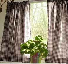 Brown Gingham Curtains Gingham Kitchen Caf礬 Curtain Unlined Or With White Or Blackout