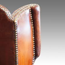 Leather Queen Anne Chair Queen Anne Style Leather Wing Chair Now Sold Hingstons Antiques