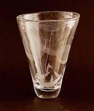 Engraved Glass Vases Vase Etched Scandinavian Art Glass Ebay