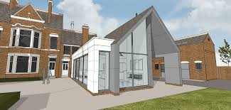 contemporary garden room to period house leaf architecture