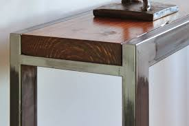 salvaged wood console table decor reclaimed wood console table steel chrome base finish for