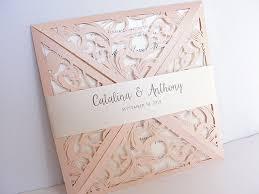 laser cut invitations wedding invitation laser cut wedding invitation blush