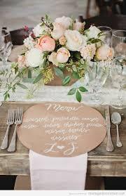 deco mariage boheme chic décoration d une table style rustique et chic menus écrit à la
