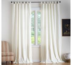 Tie Top Curtains White Textured Cotton Tab Top Drape Pottery Barn