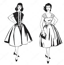 two stylish dressed girls 1950s 1960s style retro fashion party