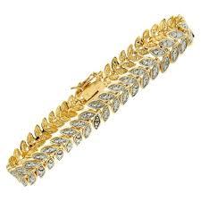 bracelet gold style images 0 01 ct t w round cut diamond accent leaf style prong set bracelet