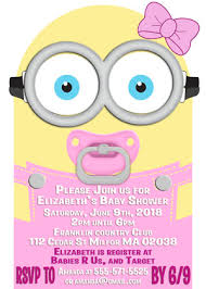minions baby shower minions inspired girl die cut baby shower invitations
