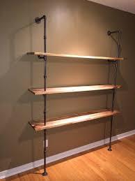 Black Pipe Bookshelf Iron Pipe U0026 Maple Shelving Unit By Seankub Lumberjocks Com