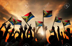 Image Of South African Flag Group Of People Waving South African Flags In Back Lit Stock Photo