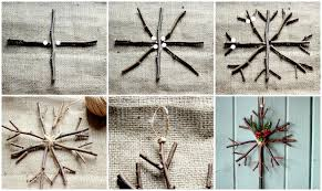 handmade ornament rustic twig snowflake yellow bliss road
