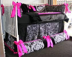 Pink And Black Crib Bedding Sets Bedroom Oak Wood Baby Crib Using Pink Black And White Bedding