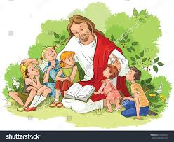jesus reading bible children available outlined stock vector