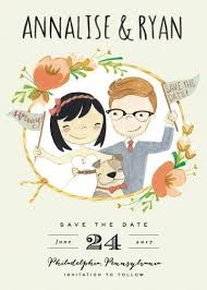 custom save the dates wedding save the date cards custom illustrated portrait