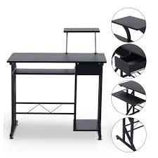 Black Computer Desk Homcom Compact Computer Desk Black Aosom Co Uk