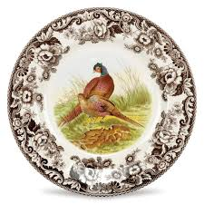 dining spode woodland dinner plate pheasant with thanksgiving