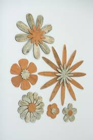 set of 6 wooden br flower wall