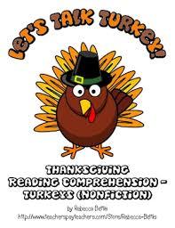 thanksgiving reading comprehension freebie turkey nonfiction