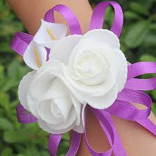 silk corsages whoesale pe flower calla wedding wrist flowers