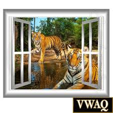 tigers wall decal window frame peel and stick mural jungle scene home peel and stick wall decals 3d window frames 3d window wall decal tigers wall art window frame jungle scene safari vwaq gj11
