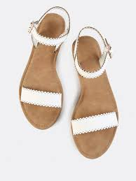 scalloped trim flat sandals white makemechic com shops flats