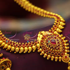 red gold jewelry necklace images Nl3148 red gold plated mango pearl haram traditional look necklace JPG