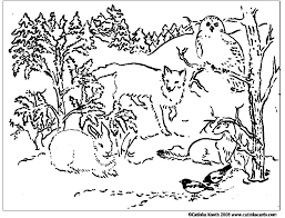 winter animal coloring