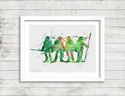teenage mutant ninja turtles print watercolor art nursery kids