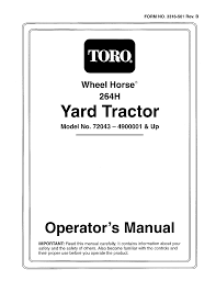 toro wheel horse 264 h owners manual documents