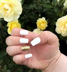 matte fake nail set white false nails glitter acrylic nails