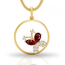 butterfly gold necklace images Diamond and ruby butterfly gold pendant jpeg