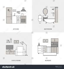 flat line home interior design icons stock vector 523335763