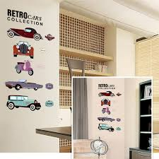 retro cars collections wall stickers crazy fans room decor pvc