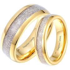 couple rings gold images His and hers matching gold tone tungsten wedding couple rings set jpg