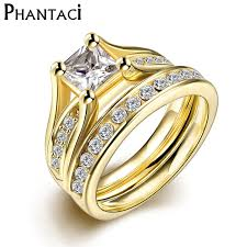 golden rings online images Online shop 2 pcs set zircon 316l stainless steel double rings for jpg