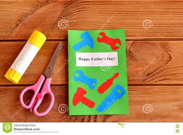 happy fathers day greeting card with paper tools scissors glue