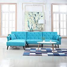 Living Room Design With Sectional Sofa Amazon Com Mid Century Modern Style Velvet Sleeper Futon Sofa