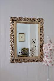 large silver mirror carved solid wood frame beautiful antique