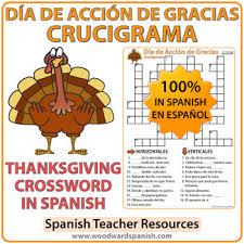 thanksgiving crossword día de acción de gracias by